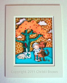 Because he'll be born in the year of the dragon!  Nursery Art Print Knight and Dragon Picture Custom Colors for 11 x 14 inches - peach, turquoise, orange, brown. $35.00, via Etsy.