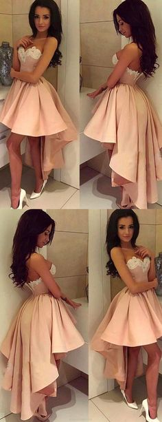 Sleeveless Prom Dresses, Pink Sleeveless Homecoming Dresses, Short Party Dresses, 2017 Homecoming Dress Sweetheart Asymmetrical Short Prom Dress Party Dress WF02G42-187