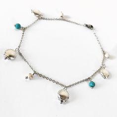 Βραχιόλι Ποδιού με κοχύλια και πέρλες χαουλίτη | Βραχιόλια στο jamjar Kai, Summer Accessories, Beaded Necklace, Jewellery, Silver, Bead, Beaded Collar, Jewels, Pearl Necklace