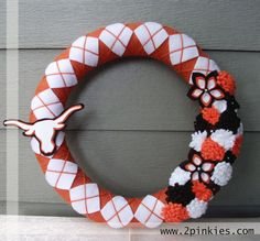 My new wreath from TwoPinkies- a great Etsy discovery!  The shop owners are really sweet & kept me up to date as they created their first Texas wreath. I highly recommend to any college sports fans wanting cute decor :)