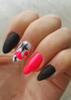 Nail art with flamingo and black mat