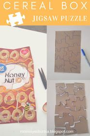 Mommy Suburbia: How To Make Your Own Cereal Box Jigsaw Puzzles Fun Activities For Kids, Easy Crafts For Kids, Art For Kids, Family Activities, Jigsaw Puzzle Fun, Jigsaw Puzzles For Kids, Group Projects, Craft Projects, Elementary Art