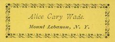 Alice Cary Wade :: Shaker Ephemera