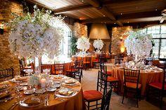 wedding flowers, reception centerpieces, tall centerpiece, warm wedding colors, orchids, white wedding flowers, Bold, white, orange,