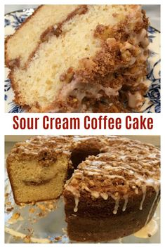 SOUR CREAM COFFEE CAKE - Awesome tried & True Ina Garten recipe! Impress family and friends with this easy to make, super moist, absolutely delicious coffee cake! Filled with streusel in the middle of the cake and on top, then finished with a maple glaze Sour Cream Pound Cake, Sour Cream Coffee Cake, Recipes With Sour Cream, Coffee Cake Recipe Bundt, Cake Recipe With Sour Cream, Coffe Cake, Coffee Cake Muffins, Coffee Cream, Food Cakes