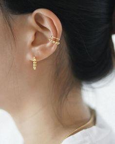 EMI Beaded Hoops in Gold – THE HEXAD Mini Hoop Earrings, Gold Earrings, Her Style, Piercings, Jewelery, Plating, Bangles, Gems, Silver