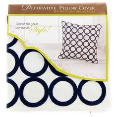 "18"" x 18"" Blue Circle Embroidery Pillow Cover 