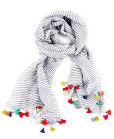 Stripes & Tassels Linen Scarf | LEIF