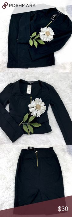 """💕SALE💕NWT Express Black Skirt Suit Fabulous NWT Express Black Skirt Suit Gold Zipper on Jacket and Back of Skirt. Skirt is 24"""" from the top of the waist to bottom and 26"""" waist Jacket is 18"""" from the top of the shoulder to the bottom 16"""" from armpit to armpit 22"""" Sleeve Length Express Skirts"""