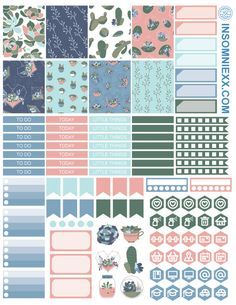 Planner Printable Stickers Kit - Cacti & Succulents - Perfect for Erin Condren Life Planner and many more planners! by insomniexx on Etsy