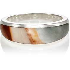 Pamela Love Women's Inlay Cocktail Ring (€255) ❤ liked on Polyvore featuring jewelry, rings, silver, long rings, band jewelry, polish jewelry, statement rings and pamela love