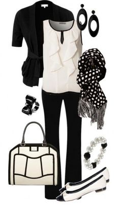 Work outfit. White sleeveless ruffle top shirt with black pants. Cute scarf and I love the purse. Black half sleeve blazer jacket. White and black flats. Love the shoes.