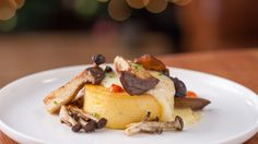 Polenta Gratin with Sautéed Wild Mushrooms - Michael Bonacini -- serve with Tomato Braised Veal Roulade (recipes - healthy - meat) Healthy Meats, Healthy Recipes, Wild Mushrooms, Stuffed Mushrooms, Roulade Recipe, Veggie Casserole, Italian Recipes, Italian Cooking, Polenta