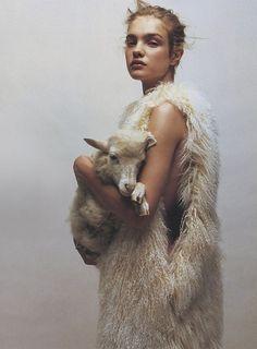 """""""Doux Comme Un Agneau"""". Natalia Vodianova by Jean-Baptiste Mondino for Numéro #37 October 2002"""