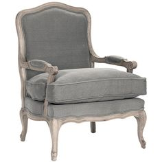 French Grey Amour Chair ($1,275) ❤ liked on Polyvore featuring home, furniture, chairs, accent chairs and woods furniture