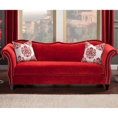 Furniture of America Othello Sofa ($1,365) ❤ liked on Polyvore featuring home, furniture, sofas, red, red furniture, furniture of america, nailhead furniture, red sofa and patterned sofa
