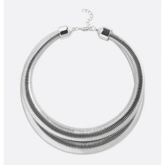 Avenue Double Snake Collar Necklace ($6.40) ❤ liked on Polyvore featuring jewelry, necklaces, plus size, silver, imitation jewellery, snake chain necklace, layered necklace, multi layer necklace and collar jewelry