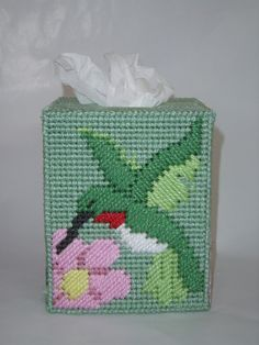 Handmade Hummingbird Tissue Box Cover by Brigitte Cornell