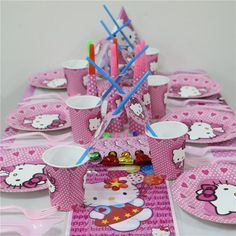 96pcs hello kitty kids girls disposable paper cups + plates party pack birthday Party Decoration Set party supplies for 8people
