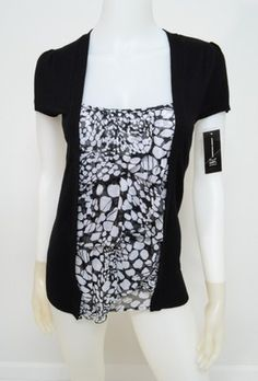 Inspiration -- Inc s Small Knit Top Black White Layer Look Cap Sleeve Ruffle