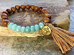 SandalWood Tassel Bracelet - Stack Bracelet - Yoga Bracelet -Spiritual Bracelet - Sandalwood Bracelet, Amazonite Gemstone Bracelet by RainbowDreamsJewelry on Etsy https://www.etsy.com/listing/221594678/sandalwood-tassel-bracelet-stack