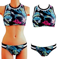 Gender: Women Item Type: Bikinis Set Pattern Type: Floral Brand Name: Unbranded Waist: Low Waist Material: Polyester Material: Spandex Support Type: Wire Free With Pad: Yes Model Number: 517