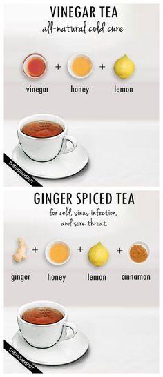 tea recipes for cough, cold, flu and sore throat http://www.juicerblendercenter.com