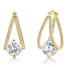 Sterling Silver 14K Yellow Gold Plated 9mm Round CZ Invisible Set Drop Earring *** Continue reading at the image link.