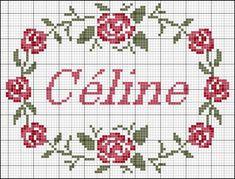 Cross stitch chart garland of roses around a name - Carton-Marie Cross Stitch Borders, Cross Stitch Rose, Cross Stitch Flowers, Cross Stitch Designs, Cross Stitching, Cross Stitch Embroidery, Embroidery Patterns, Cross Stitch Patterns, Celine