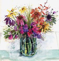 Summer Flowers, watercolour, Kathy Lewis