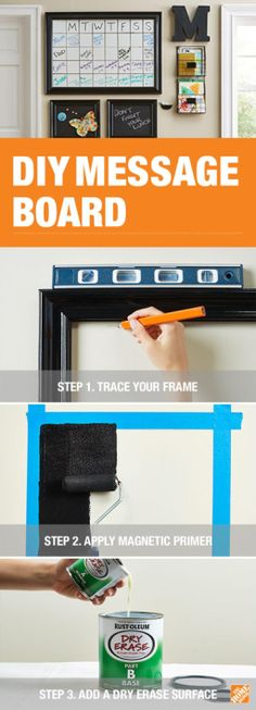 Get organized with dry-erase and chalkboard paint! Rust-Oleum makes it easy to paint a whiteboard or chalkboard directly on to your wall. The Home Depot Blog has the steps you'll need to tackle this DIY project.