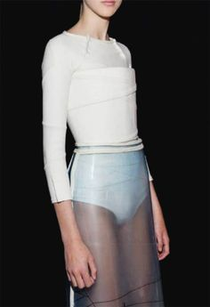 Transparency - layered wrapped, clear plastic skirt; transparent fashion details // Wim Bruynooghe