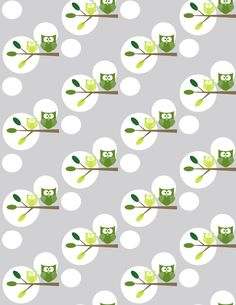 Green Tree Owls- Polka Dots fabric by fotomichelle on Spoonflower - custom fabric
