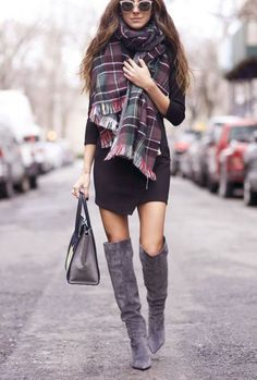 How to wear over the knee boots. Something Navy wears her grey suede boots with a sweater dress and plaid scarf, via @sarahsarna.