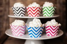 24 Chevron Cupcake Wrappers  PICK YOUR COLOR by getthepartystarted