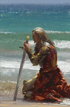 Man with goatee, plate armor, sword, and red tabard kneeling on the beach.