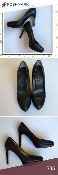 """Banana Republic Black Leather Heels (VHC5B) Worn twice but has some scratches on left heel ( see pictures). Price is reflected. Heel is 4"""". Offers welcome. No trade Banana Republic Shoes Heels"""
