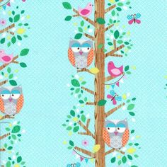 NEW Michael Miller Fabric, Owlery in Aqua, yard