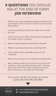 Questions you should ask at the end of every job interview. Need a resume that will land you a job interview? Informations About 8 Questions You Should Ask At Every Job Interview Pin You can easily us Job Interview Preparation, Interview Skills, Job Interview Questions, Job Interview Tips, Job Interviews, Preparing For An Interview, Interview Tips Weaknesses, Good Interview Answers, Career Advice