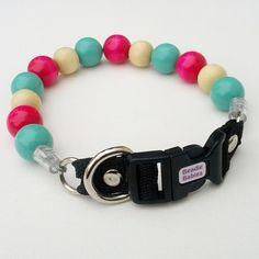 Pink Mint cream Bead Dog Collar Buckle Collars by BeadieBabiez