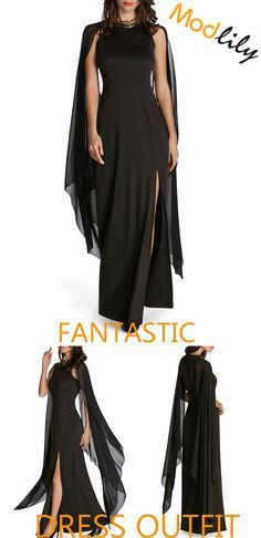 646e56b3770 Cape Sleeve Front Slit Solid Black Maxi Dress On Sale At Modlily. Fashion  And Cheap