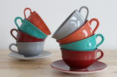 solid color teacups and saucers   Platonite Teacups - Hazel Atlas Ovide Dinnerware Cups and Saucers ...