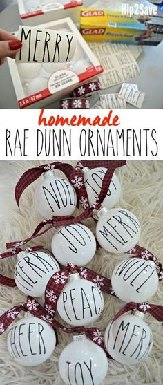 Rae Dunn pottery fans will love these easy DIY farmhouse inspired Christmas ornaments!