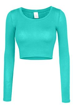 Sizes may run small; please choose a size up. This lightweight long sleeve round neck crop top is perfect for any occasion. You can wear it casually with high waisted denim pants or dress it up with a Kpop Outfits, Outfits For Teens, Sexy Outfits, Cute Outfits, Fashion Outfits, Long Sleeve Crop Top, Long Sleeve Sweater, Long Sleeve Shirts, Crop Top Outfits