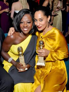 Viola Davis and Tracee Ellis Ross at the Golden Globes