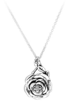 harley+davidson+jewelry+rose+necklace | HDN0249 - Harley-Davidson® Womens .925 Silver Rose DangleNecklace ...