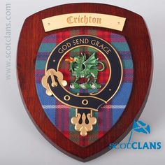 Crichton Clan Crest Plaque. Free worldwide shipping available.