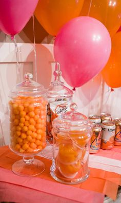 pink party orange party little girls birthday party birthday party balloon wall candy cake monochromatic party Orange Birthday Parties, Pumpkin Birthday Parties, 1st Birthday Themes, Orange Party, Pink Parties, 16th Birthday, Birthday Ideas, Garfield Birthday, Fall 1st Birthdays