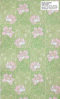 Craftsman reproduction wallpaper: Peony Garden. Design c. 1912. $210 per 33' (double) roll.