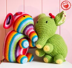 Free Crochet Elephant pattern by Jam Made. Choose from 3 versions of this pattern- rainbow stripes, circus and heart. Follow the detailed photo tutorials.